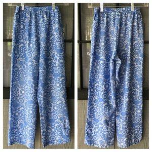 L.L.Bean girls lounge pants, blue with girly print